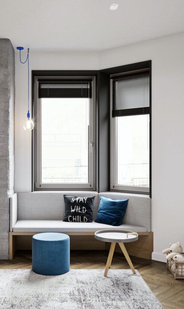 chambre enfant coin lecture banc sous fenêtre appartement 3 pièces