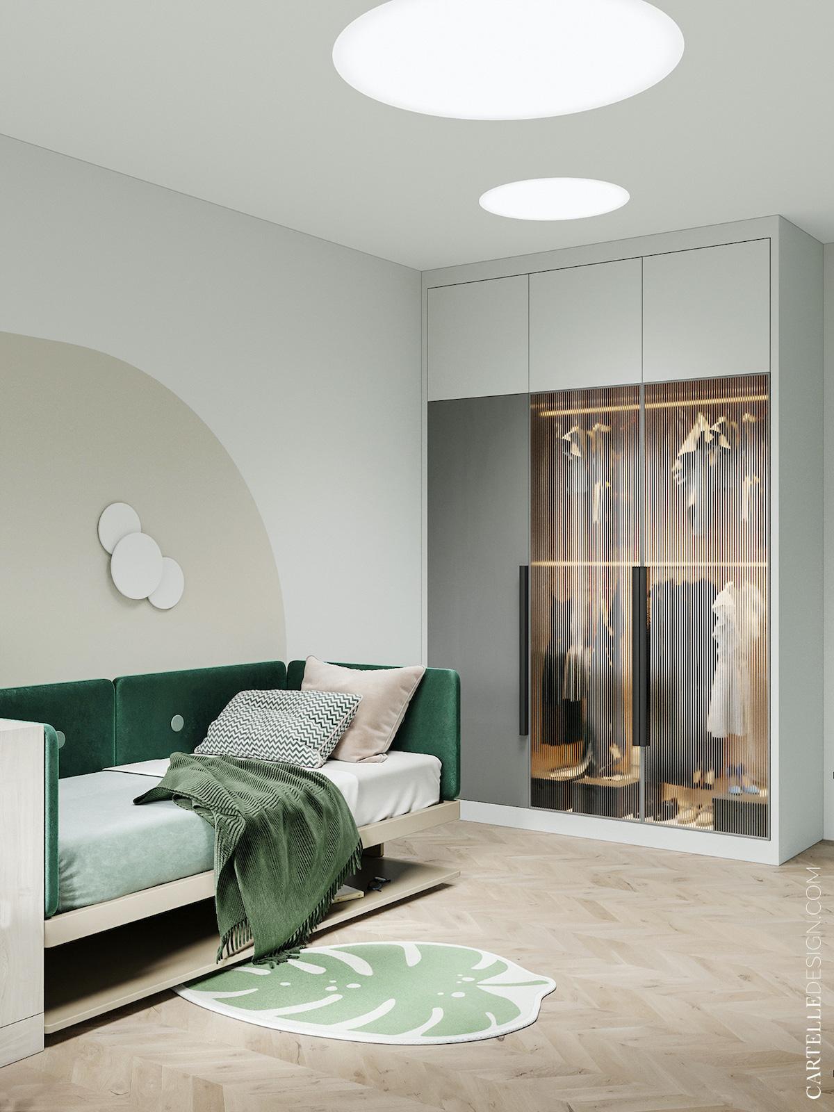 chambre enfant déco gris bois verte placard transparent décoration nature