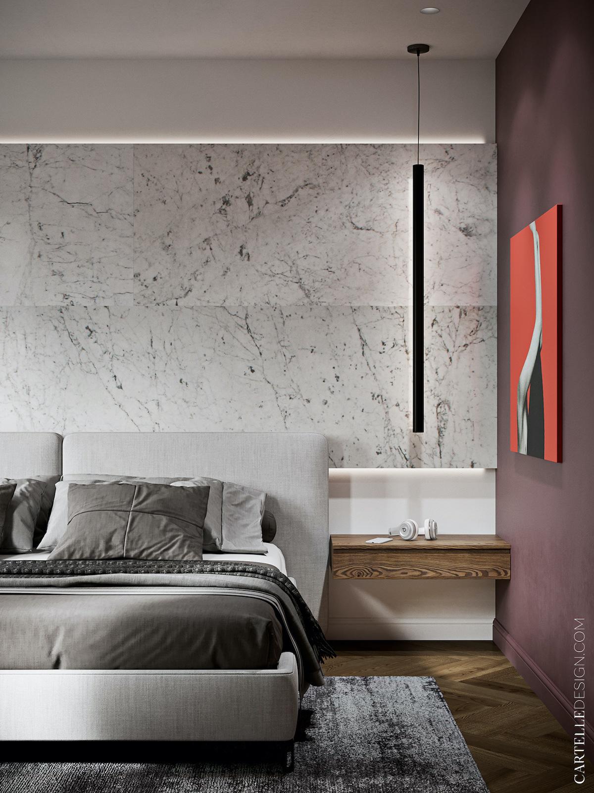 chambre grise revêtement mur effet marbre blog déco - clem around the corner