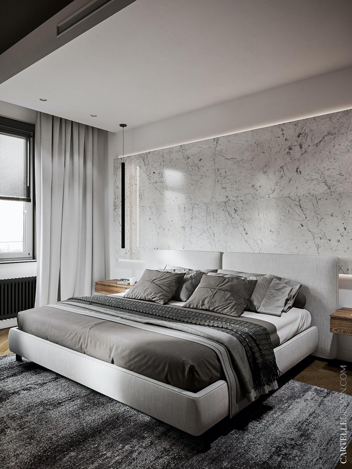 chambre nuance de gris style hotelière faux plafond - blog design clemaroundthecorner