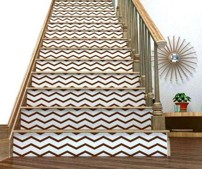 contre marche décorative escalier autocollant chevron personnalisation bois