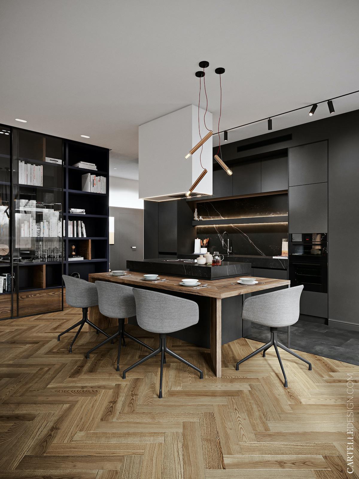 cuisine noire marbre ouverte ilot central cuisson bar table bois foncé