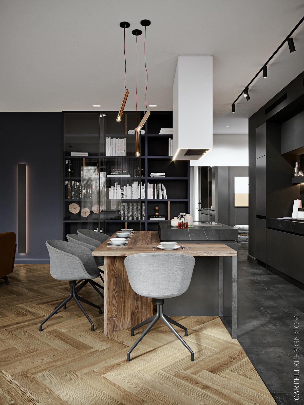 cuisine ouverte mélange parquet carrelage délimiter espace salon