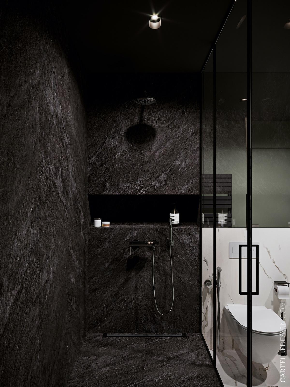 douche italienne noire carrelage effet ardoise roche appartement 3 pièces