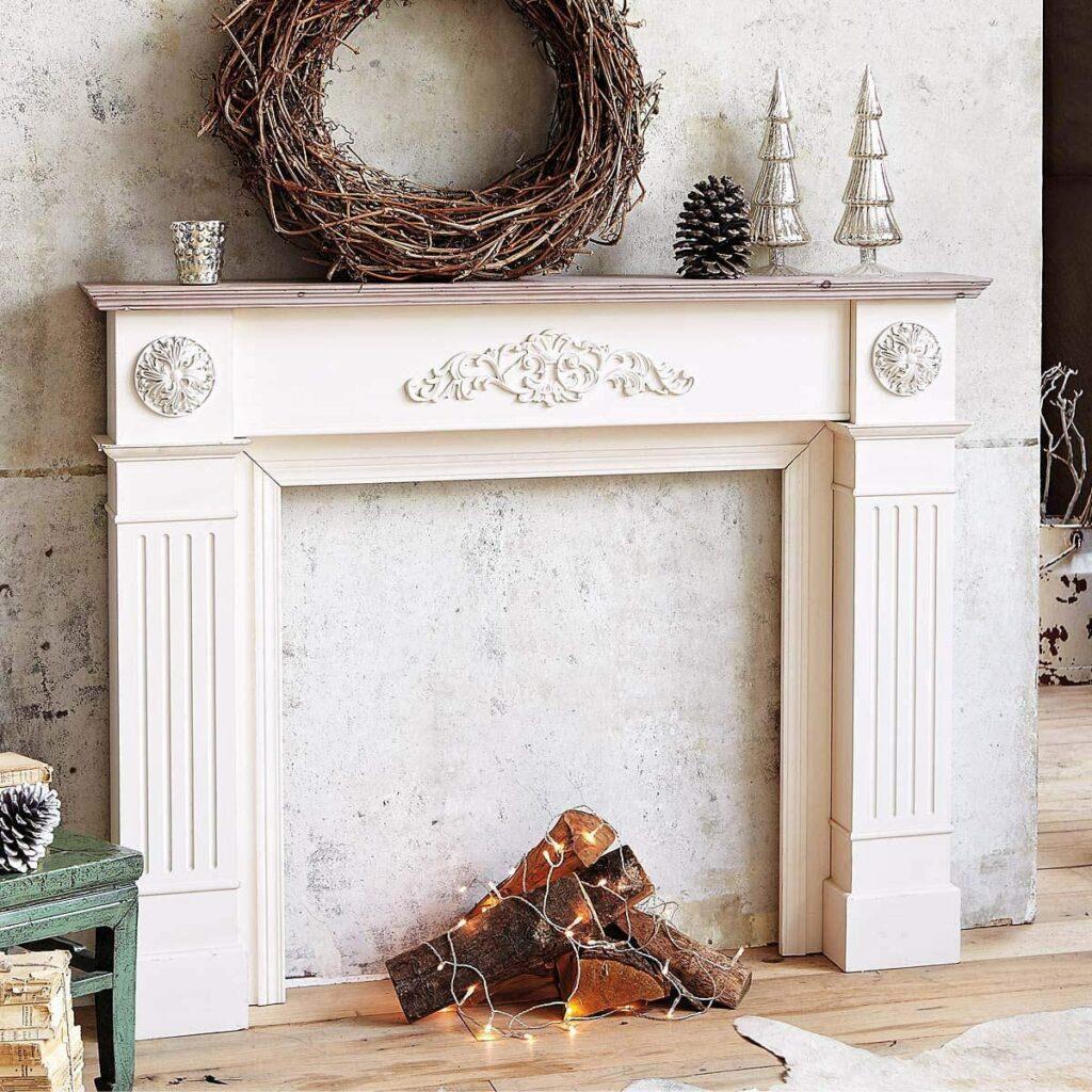 encadrement faux manteau cheminée décoration hiver cosy hygge