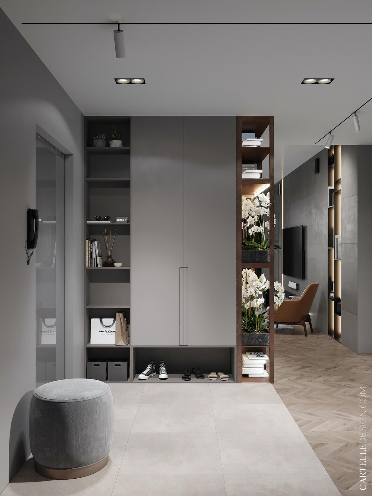entrée déco gris bois vitrine fleur - blog décoration - clem around the corner