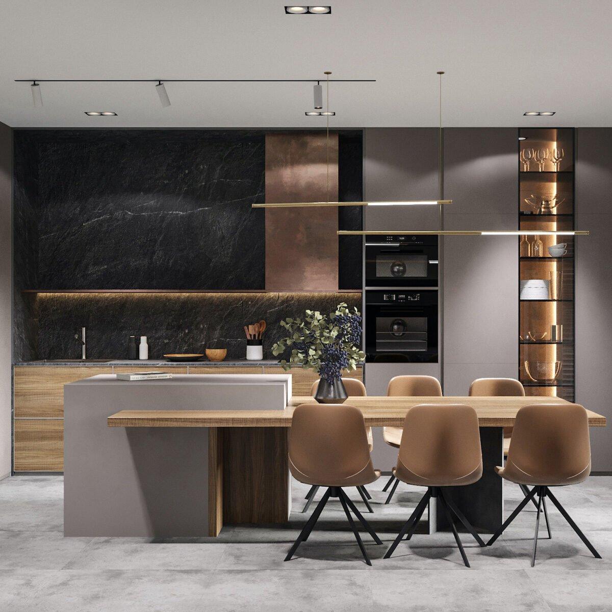 espace cuisine salle à manger décoration cuivre design moderne masculine