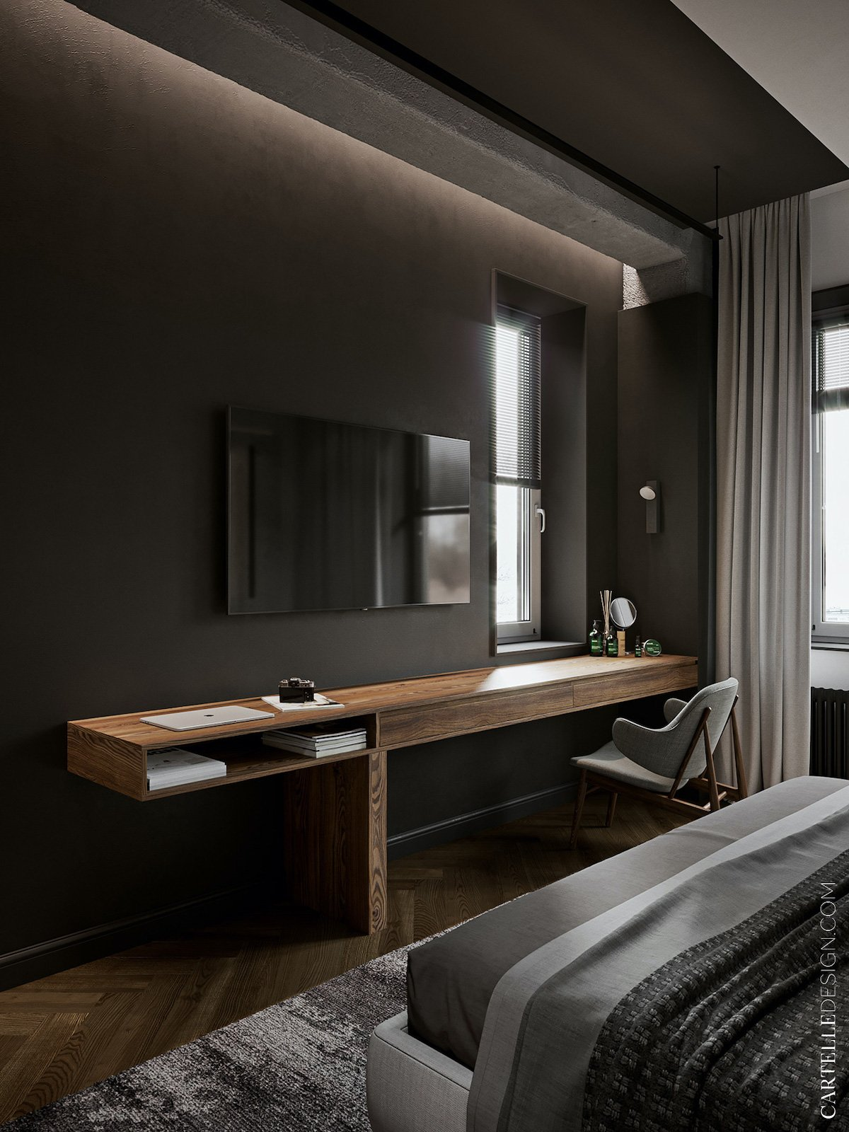 installer espace travail chambre façon hotel design - clem around the corner