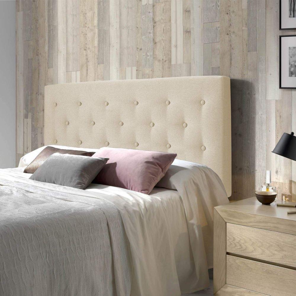 lit capitonné beige style scandinave coussin velours rose gris mur bois