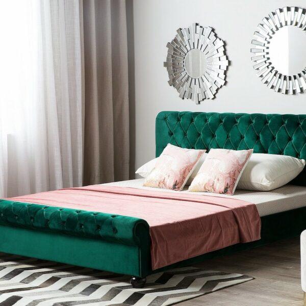 lit double matelassé vert sapin velours capitonné plaid rose pastel