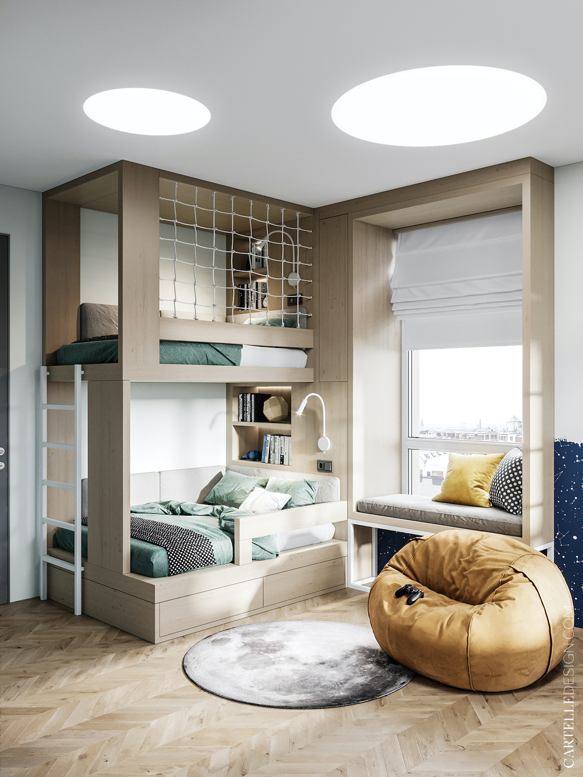 lit superposé effet cabane chambre déco gris bois vert