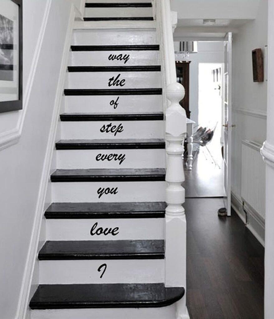 love message autocollant escalier original marche déco