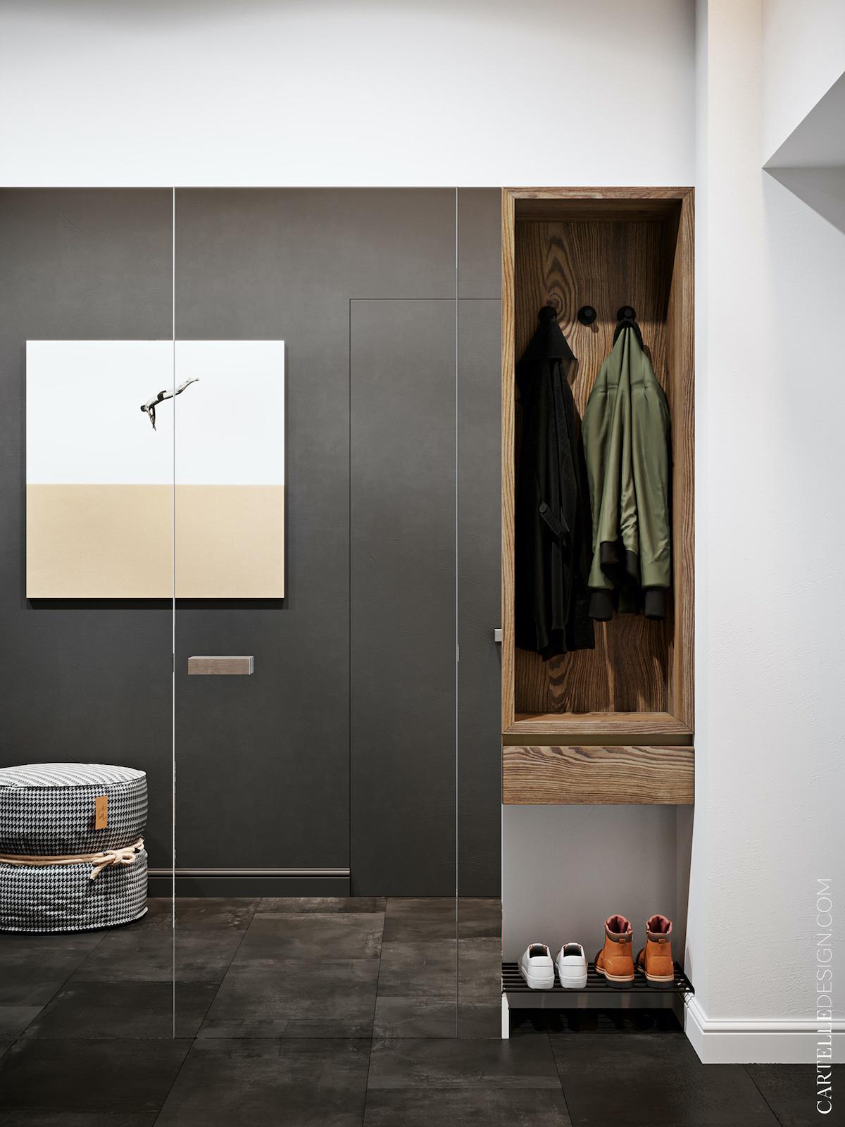 porte entrée miroir invisible design appartement 3 pièces bien agencé t3