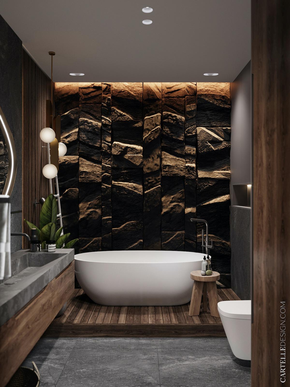 salle de bain gris bois foncé baignoire blanche ilot