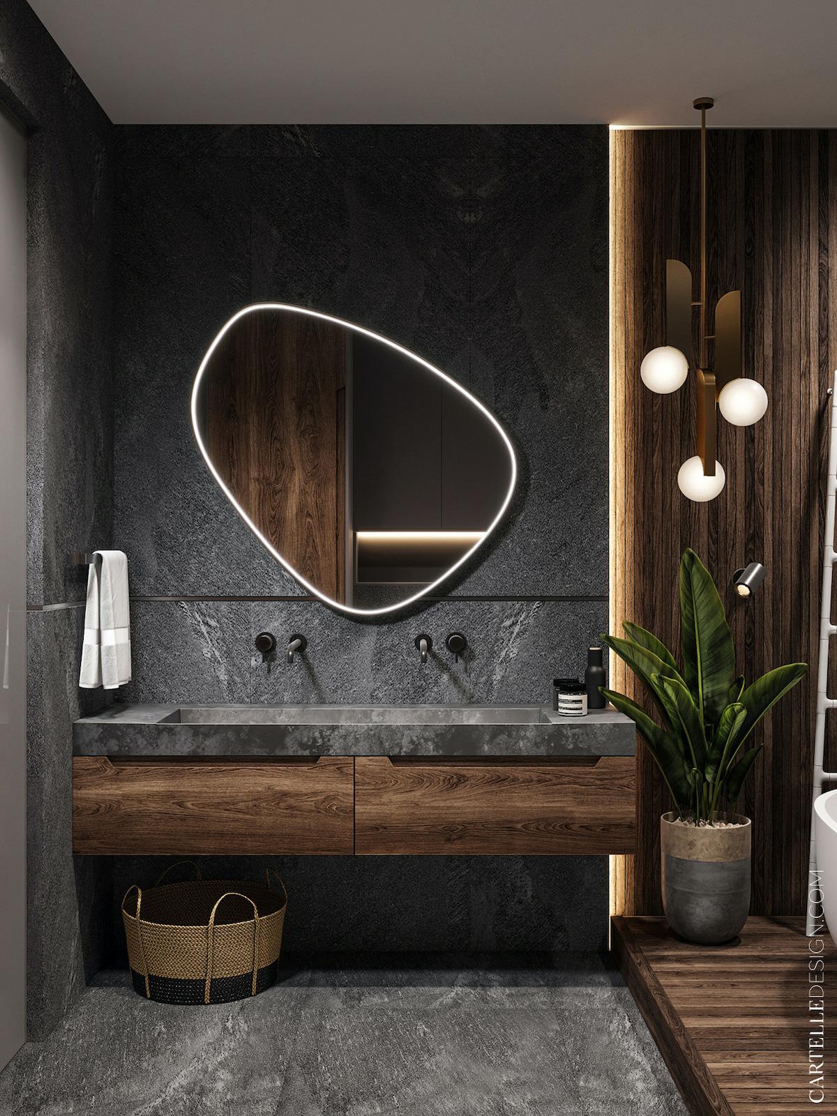 salle de bains graphique déco gris et bois - blog clem around the corner