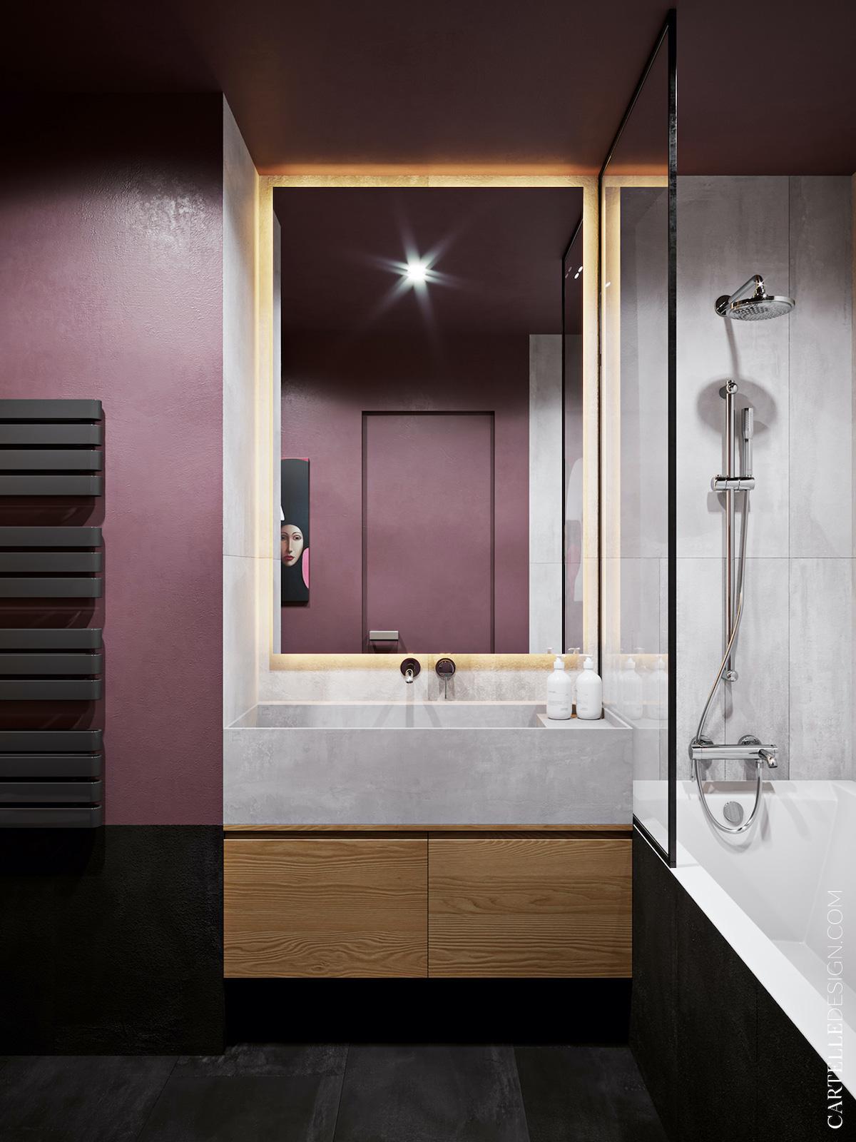 salle de bains prune gris noir blanche douche appartement 3 pièces