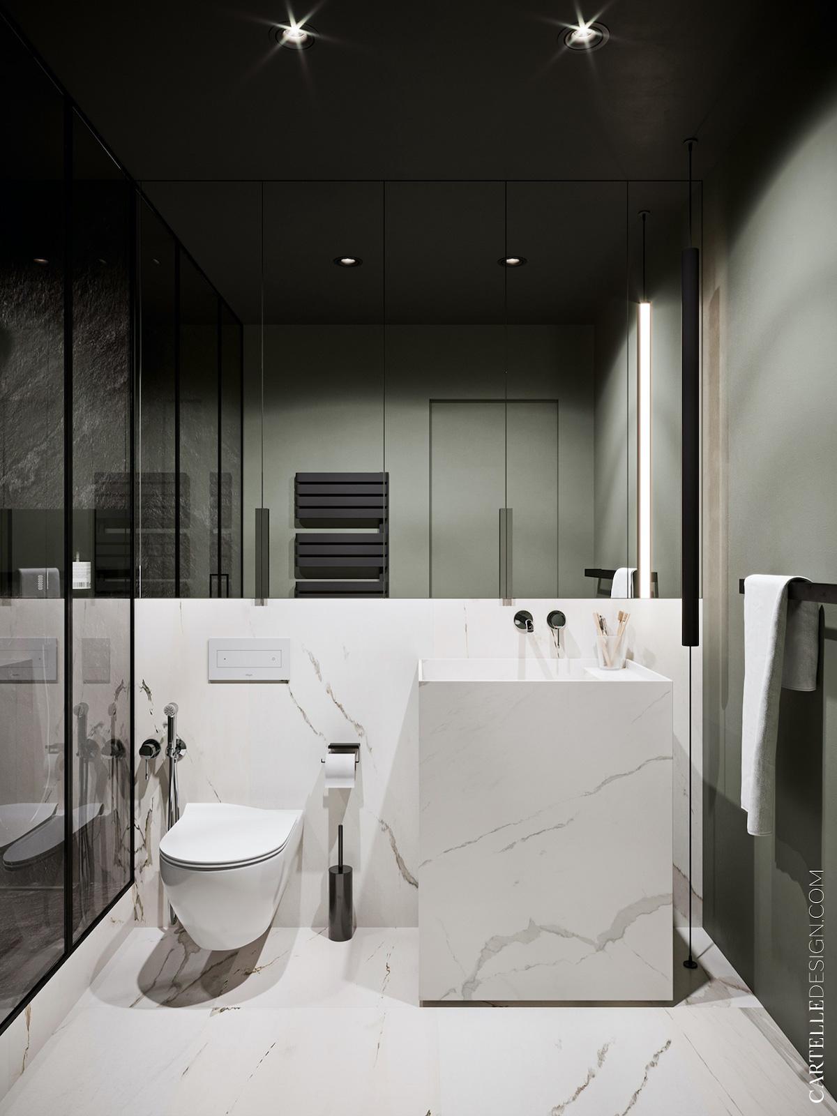 salle de bains vert olive kaki noir blanc - blog déco clemaroundthecorner