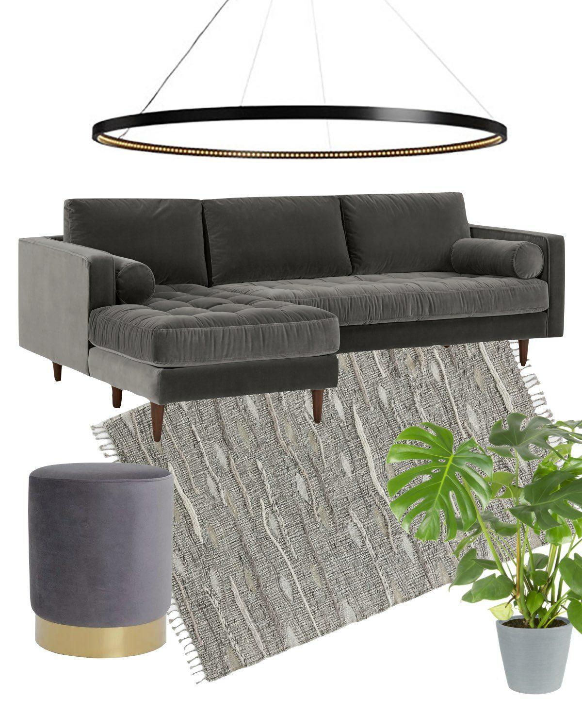 salon gris couleur canapé angle méridienne velours lit pouf rond.001