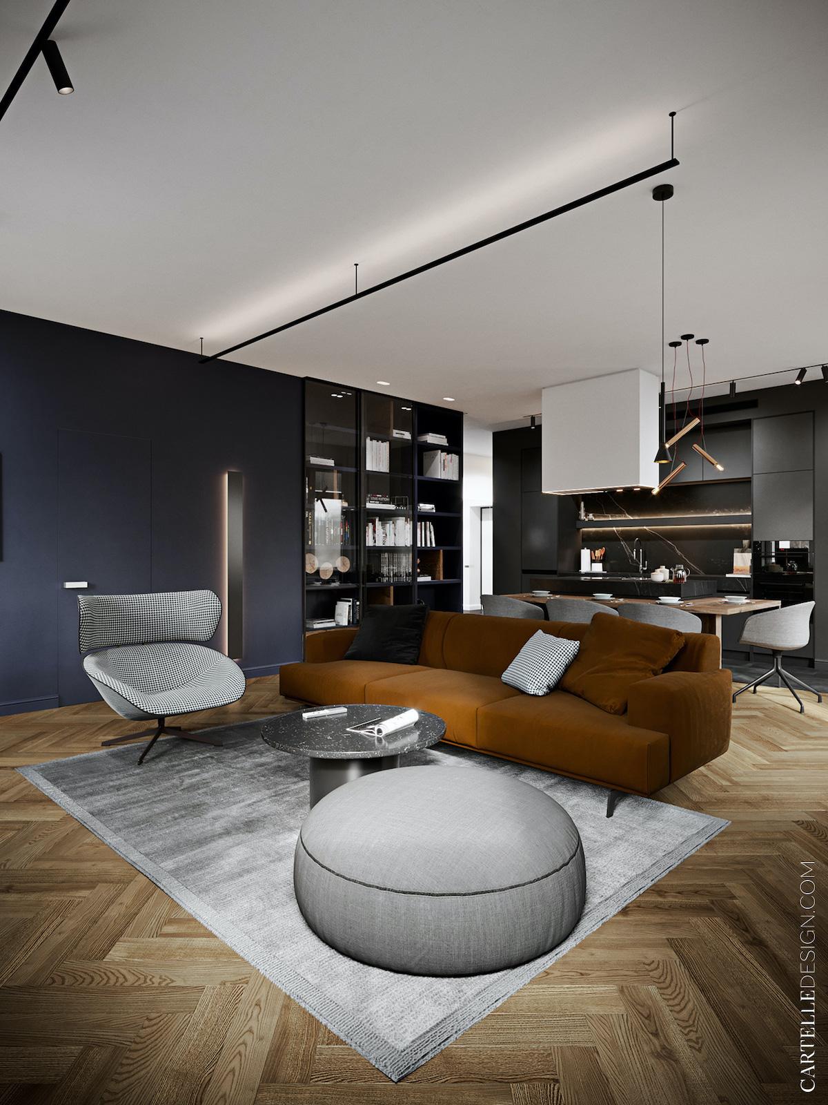 salon moderne mur bleu foncé canapé camel fauteuil pied de poule