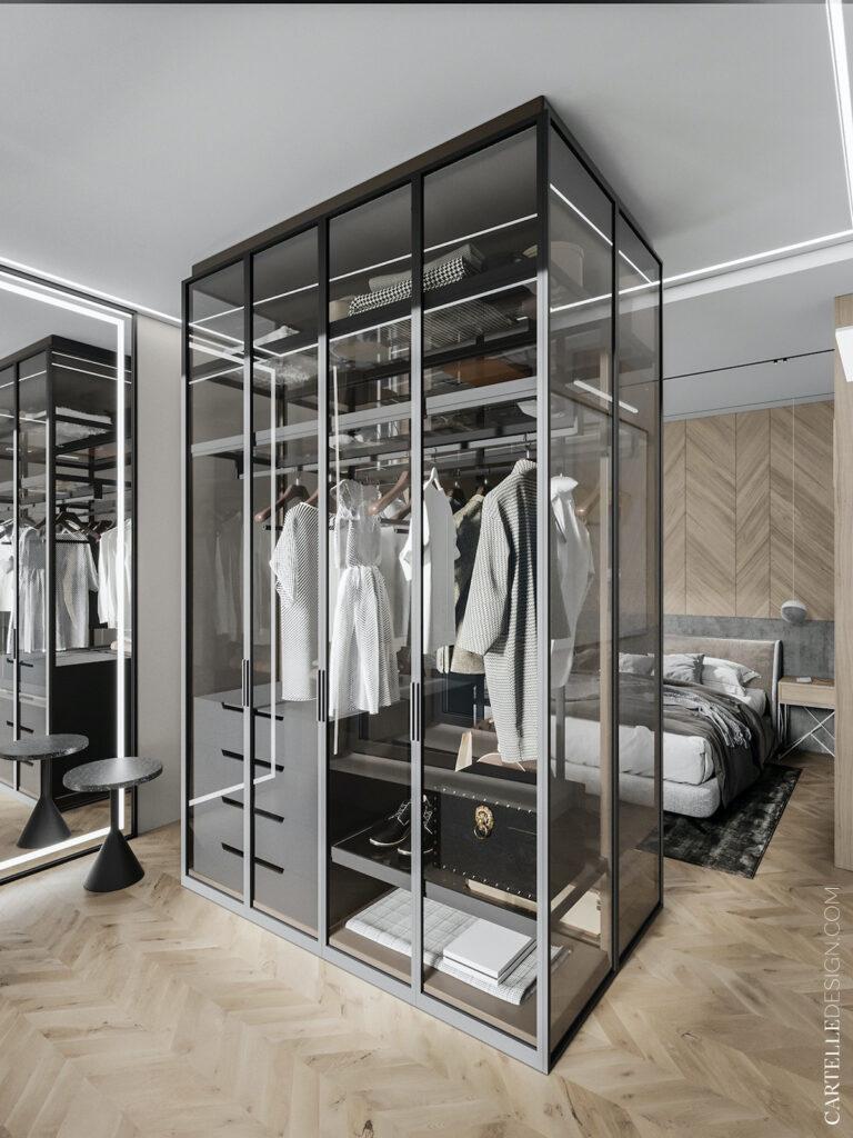 séparation chambre dressing central verre verrière transparent décoration