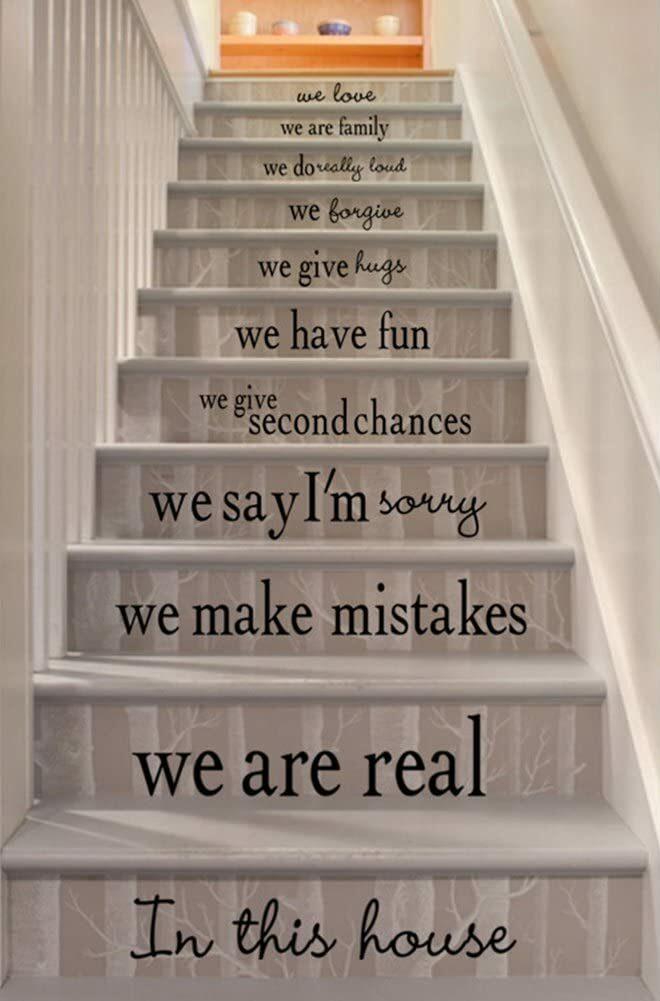 sticker message pour décorer mur original pas cher-escalier