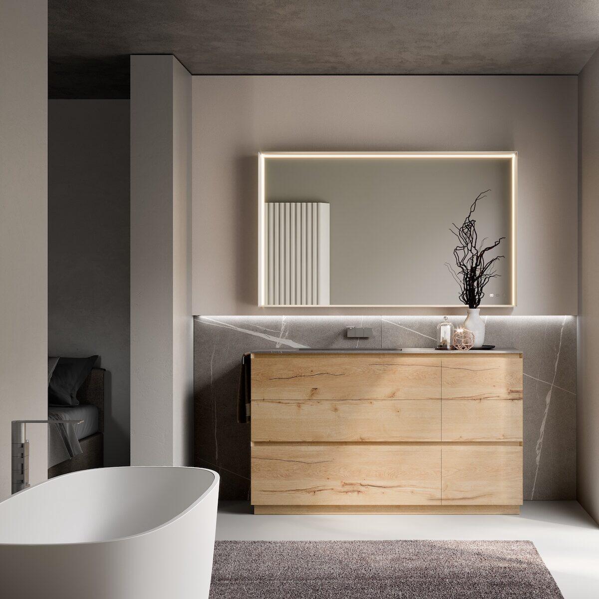suite parentale baignoire salle de bains sur jardin design