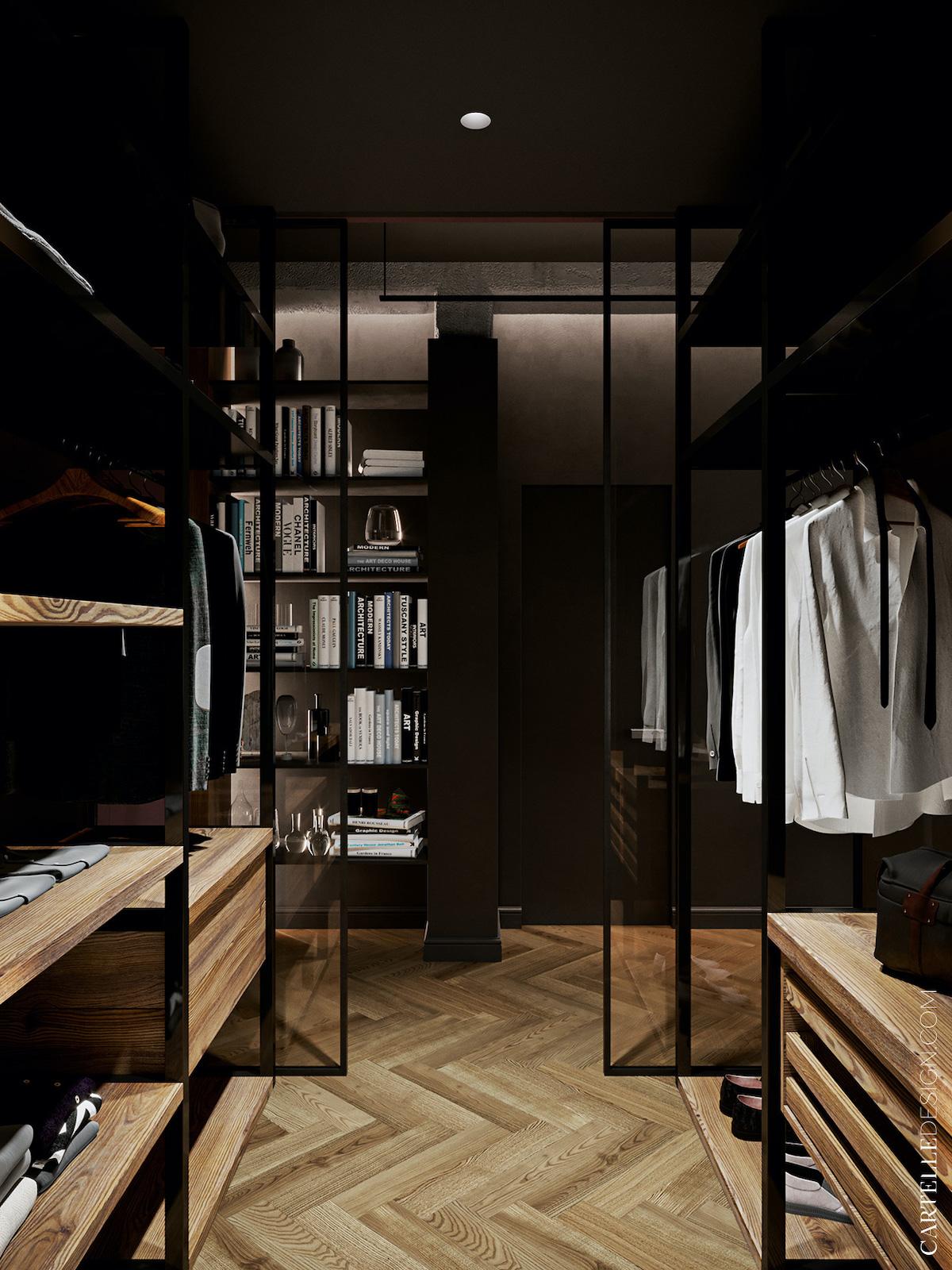 suite parentale dressing verre porte coulissante bois chêne massif