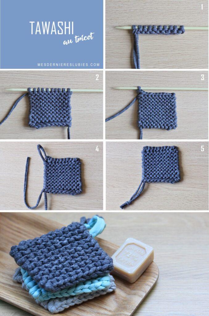 tawashi au tricot récup éponge écologique - blog déco -clematc