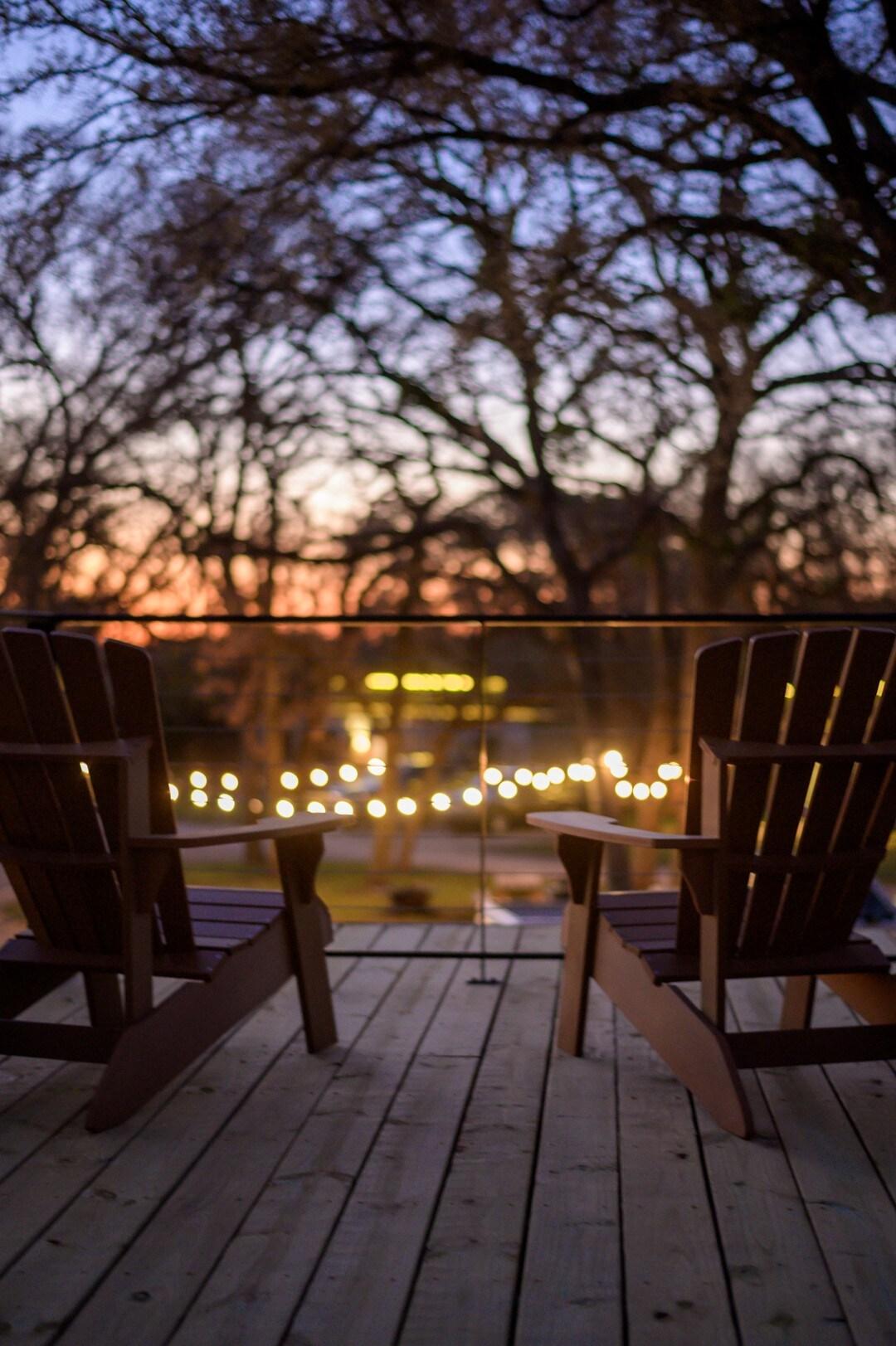 terrasse roof toit conteneur fauteuil bois américain retro Adirondack