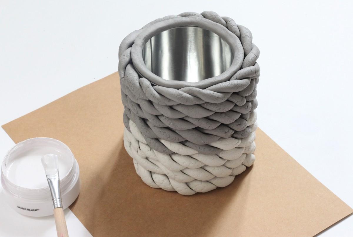 vase porcelaine poterie modèle tressé torsade