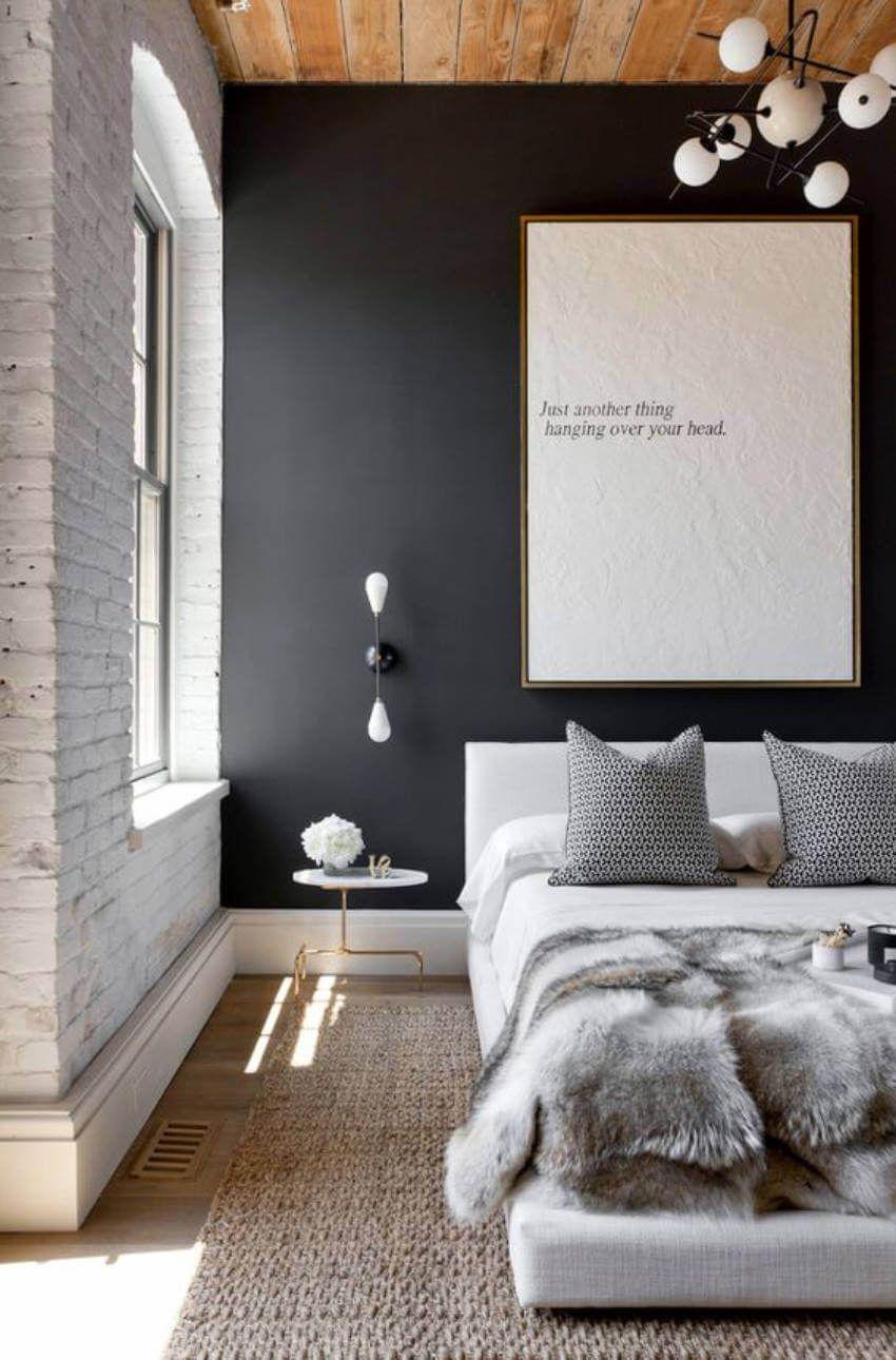chambre ambiance hivernale chalet plaid fourrure mur brique blanche tapis osier