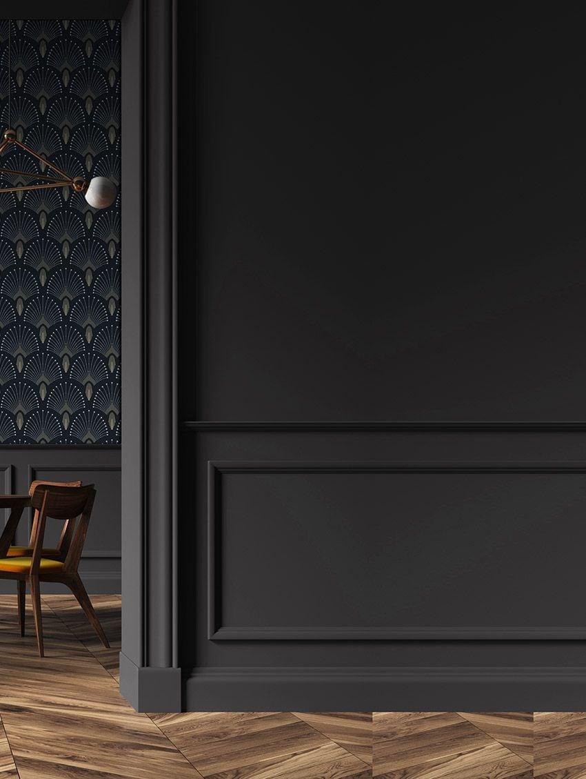 déco intérieure gris anthracite parquet bois papier peint art déco