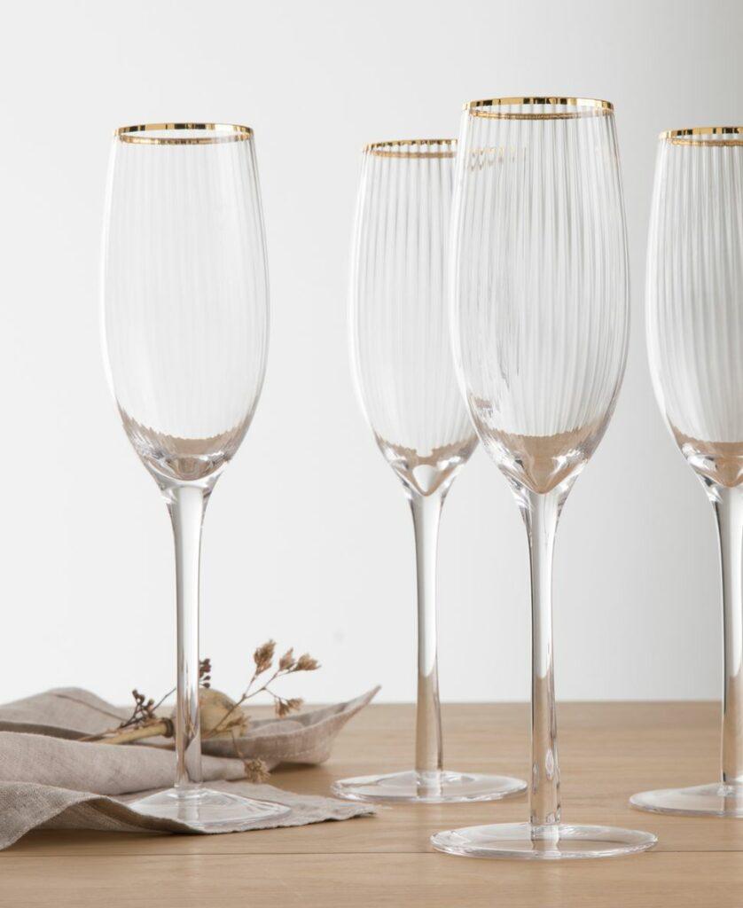 décoration élégante Noël chic flûte champagne strie rayure doré