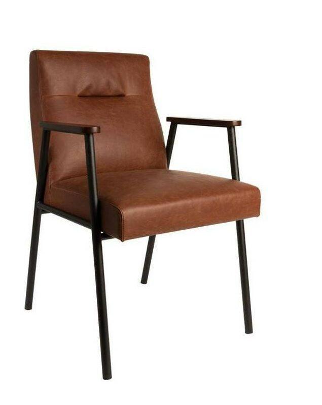 fauteuil design club moderne cuir marron pas cher
