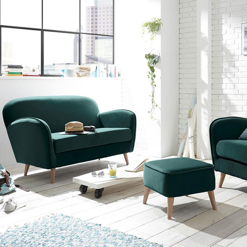 petit canapé rond pieds bois vert sapin style retro parquet bois lame blanc blog deco