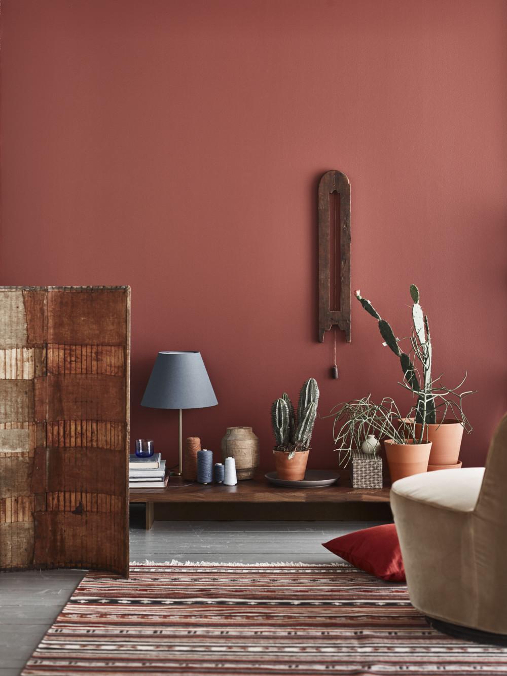 rouge terracotta tapis berbère rouge blanc cactus déco clematc