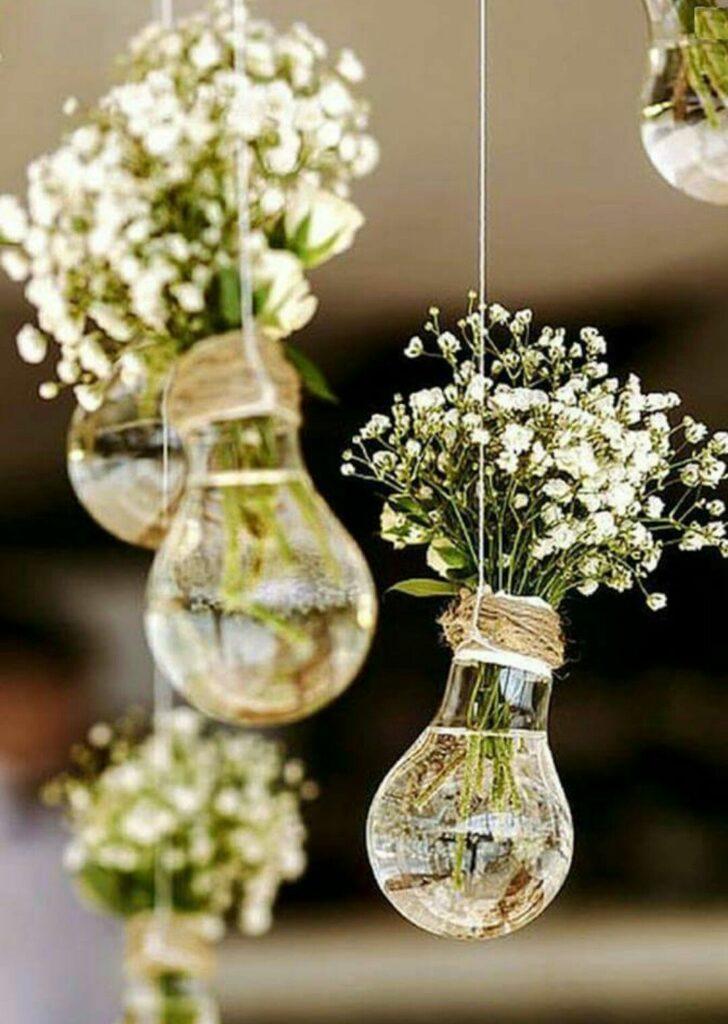 ampoule recycle pot de fleurs suspendus ficelle naturelle deco intérieure