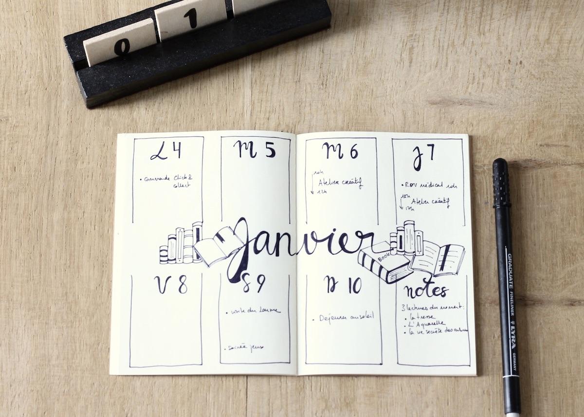 calendrier bullet journal 2021 semainier diy clem around the corner
