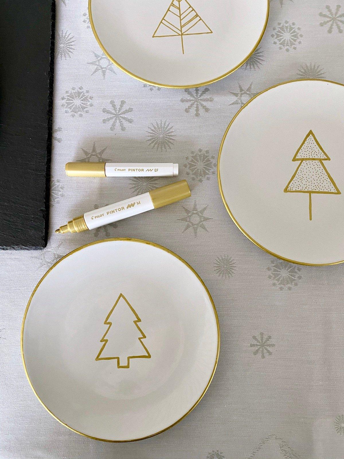idée déco création diy bricolage Noël personnalisation assiette porcelaine
