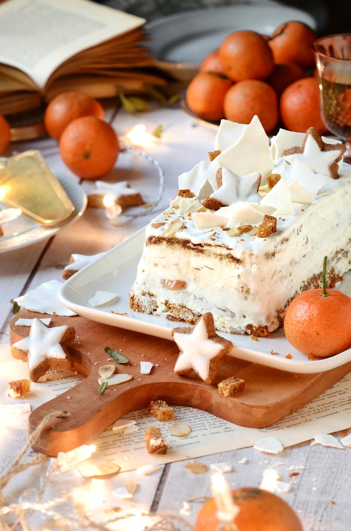 recette bûche de Noël clémentine amande effilée gourmande