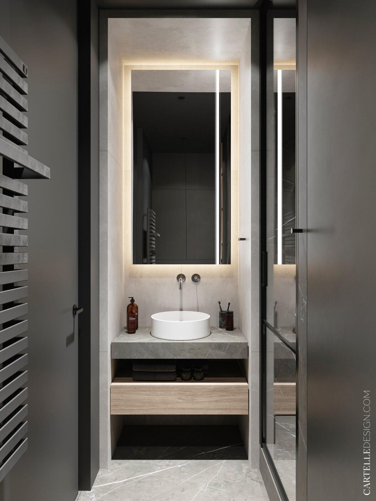 salle de bain minimaliste meuble grise bois décoration intérieure marbre