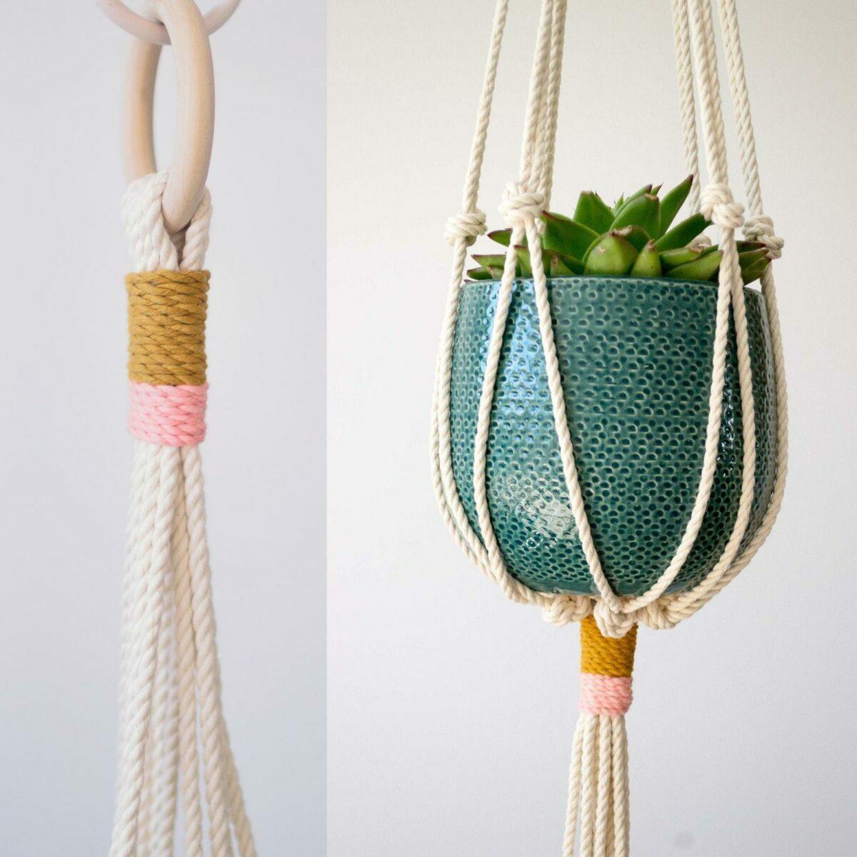 cache-pot corde multicolore minimaliste fait-main artisanal pot suspendu