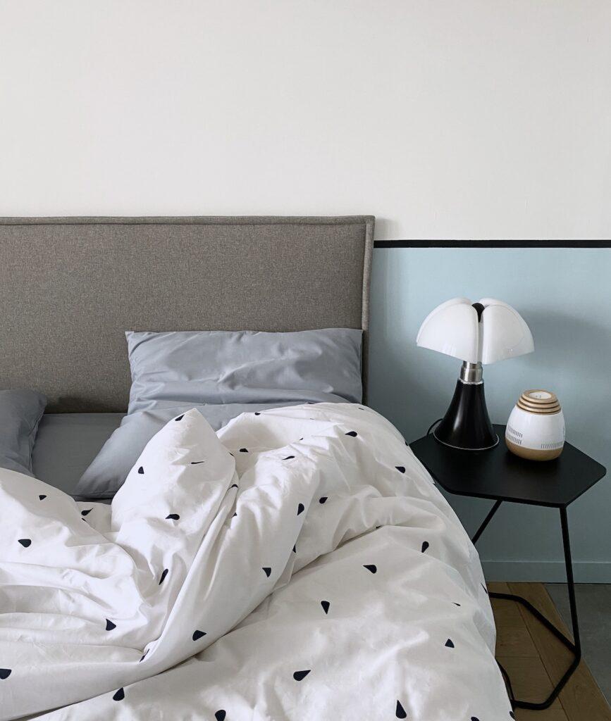 chambre nuance bleu gris Pipistrello lit coton biologique made in France