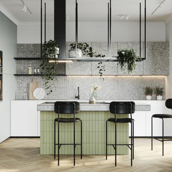 cuisine ouverte verte ilot central chaise haute noire