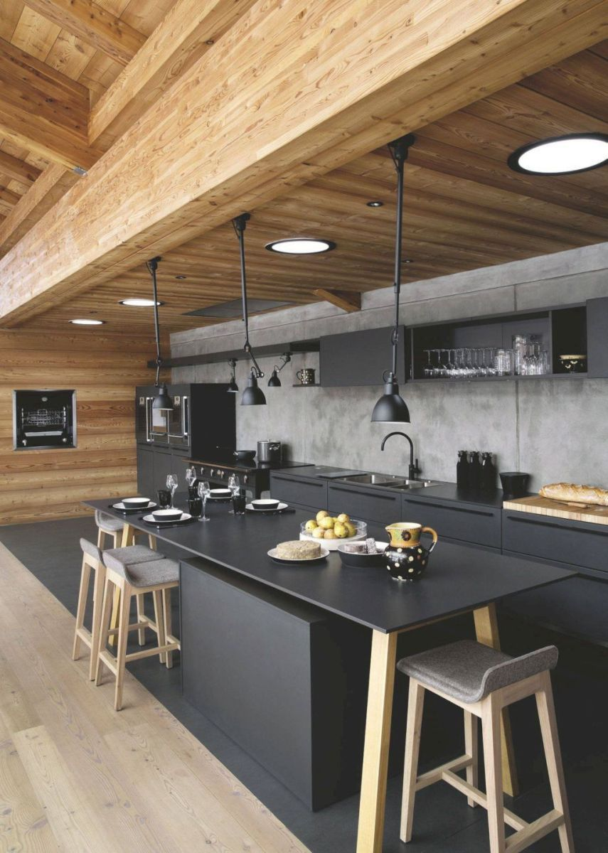deco style industriel bar béton plafond bois deco intérieure