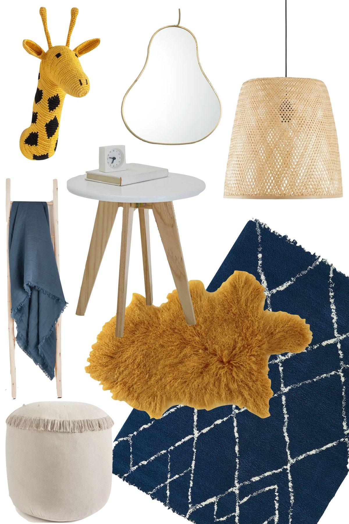 idée déco chambre enfant bleu jaune moutarde tapis berbère