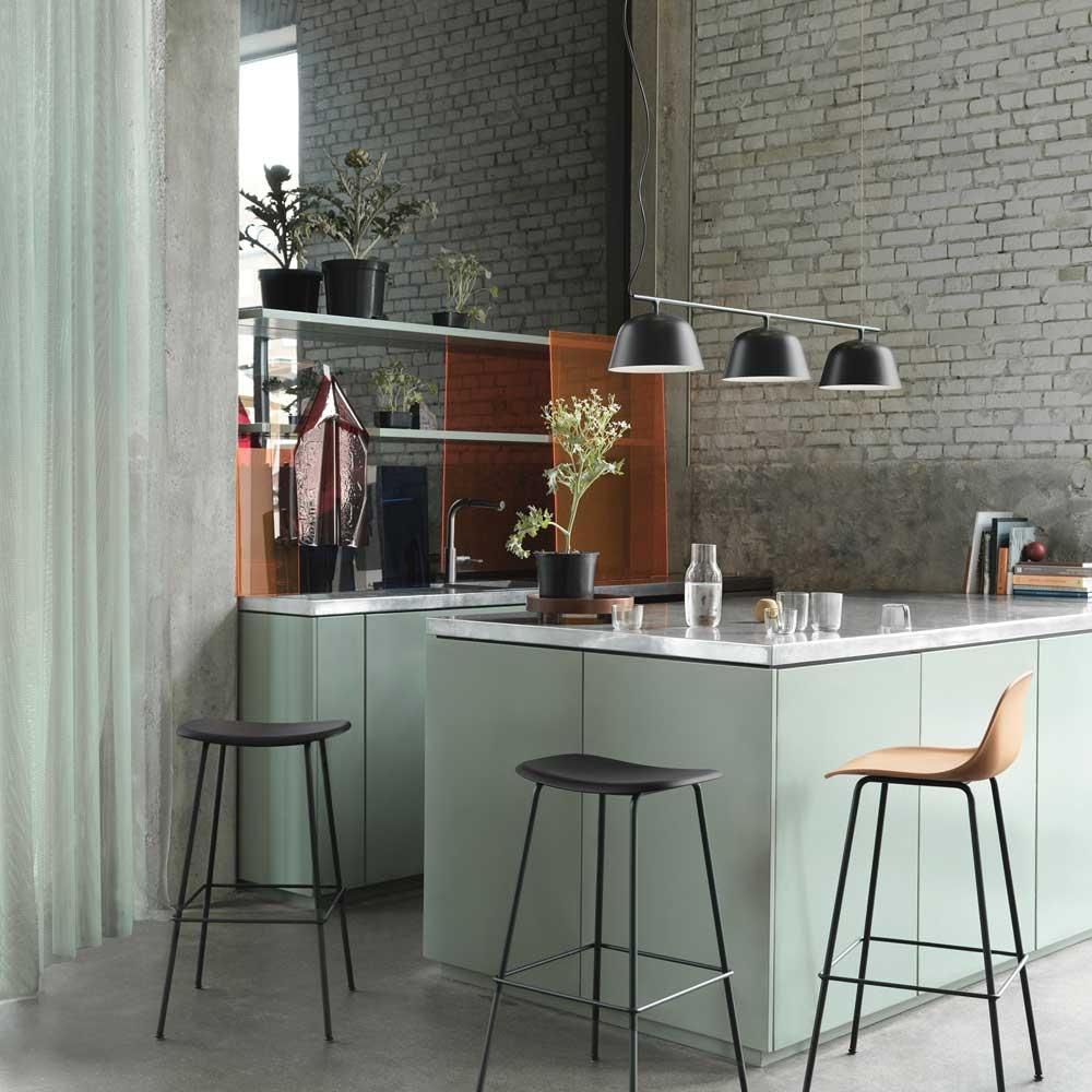 ilot central tendance cuisine 2022 vert d'eau suspension métal noir
