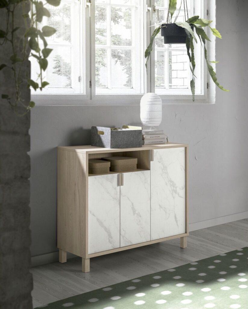 meuble commode étroite bois effet marbre design