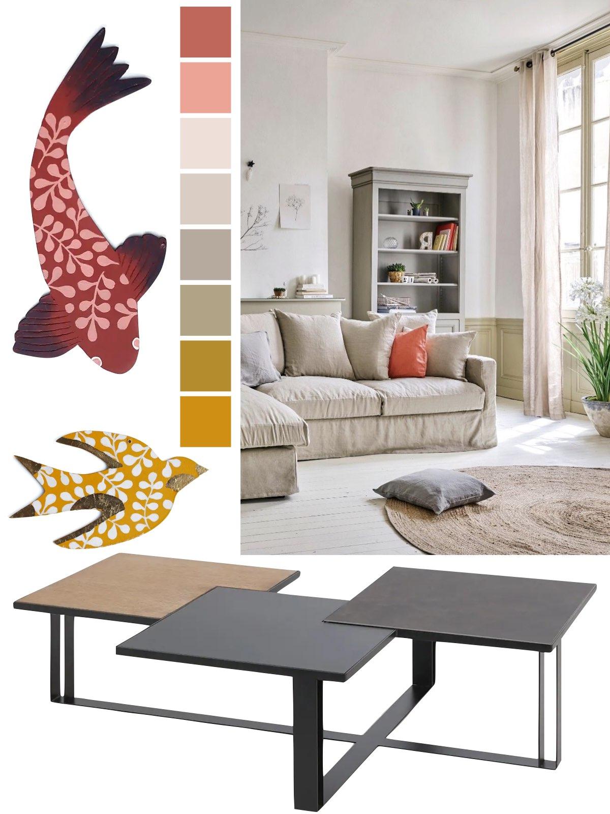 meuble salon fabriqué en France canapé lin table basse
