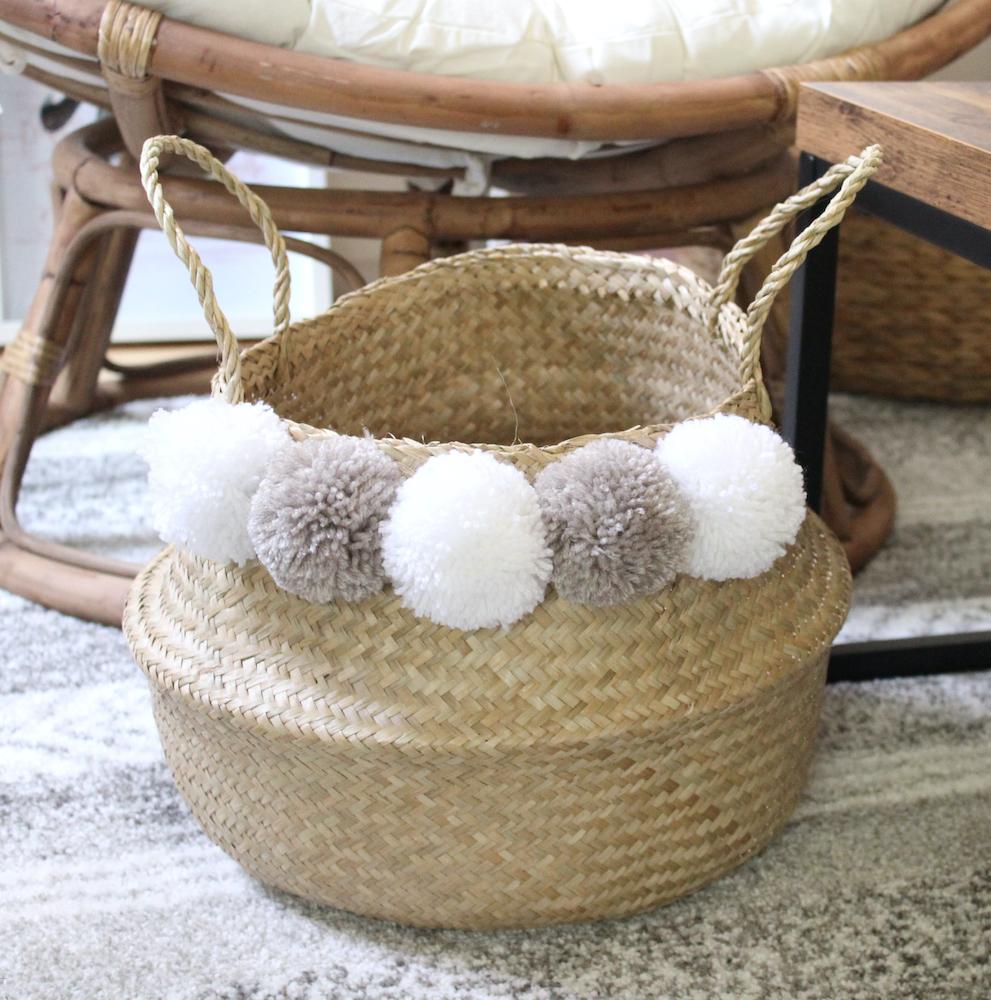 panier en osier pompon simple minimaliste deco cosy